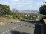 Climbing a hill in one of Johannesburg's suburbs