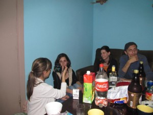 Kati, Anna, Nino, Lasha in Batumi Hostel having a supra