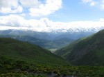 The Svaneti range in the distance