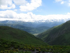 The Svaneti range in the distance