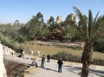 Jesus' baptism site at the river Jordan. The country Jordan begins at the other bank.